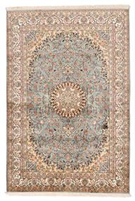 Kashmir Čista Svila Sag 127X188 Autentični Orijentalni Ručno Uzlan Bež/Tamnosmeđa (Svila, Indija)