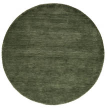 Handloom - Šumsko Zelena Sag Ø 200 Moderni Okrugli Tamnozelena (Vuna, Indija)