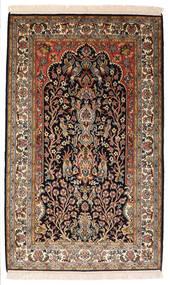 Kashmir Čista Svila Sag 82X132 Autentični Orijentalni Ručno Uzlan Crna/Tamnosmeđa (Svila, Indija)