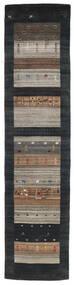 Loribaf Loom Sag 79X340 Autentični Moderni Ručno Uzlan Staza Za Hodnik Crna/Svjetlosiva (Vuna, Indija)