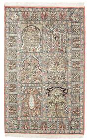 Kashmir Čista Svila Sag 77X127 Autentični Orijentalni Ručno Uzlan Tamnosmeđa/Bež (Svila, Indija)