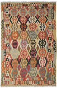 Ćilim Afghan Old Style Sag 205X311 Autentični Orijentalni Ručno Tkani Tamnocrvena/Tamna Bež (Vuna, Afganistan)