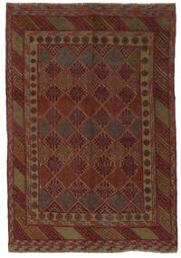 Ćilim Golbarjasta Sag 140X195 Autentični Orijentalni Ručno Tkani Crna/Tamnosmeđa (Vuna, Afganistan)