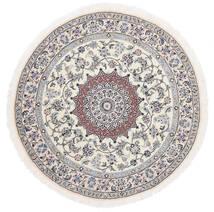 Nain 9La Sag Ø 145 Autentični Orijentalni Ručno Uzlan Okrugli Bijela/Krem/Svjetlosiva (Vuna/Svila, Perzija/Iran)