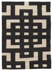 Ćilim Moderni Sag 132X177 Autentični  Moderni Ručno Tkani Crna/Svjetlosmeđa (Vuna, Afganistan)
