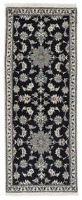 Nain Sag 77X195 Autentični  Orijentalni Ručno Uzlan Staza Za Hodnik  Crna/Bijela/Krem (Vuna, Perzija/Iran)