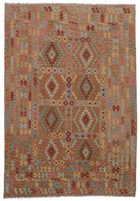 Ćilim Afghan Old Style Sag 211X298 Autentični  Orijentalni Ručno Tkani Tamnosmeđa (Vuna, Afganistan)