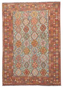 Ćilim Afghan Old Style Sag 261X345 Autentični Orijentalni Ručno Tkani Tamnosmeđa/Smeđa Veliki (Vuna, Afganistan)